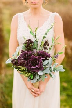 A gorgeous plum and gray autumn wedding with rustic details and a brewery reception by Shaunae Teske Photography