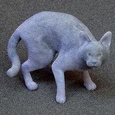 Fearing Chartreux figurine @buyonshapeways #chartreux #cat #catsofinstagram #figurine #3dprinting #gift #ornaments #ornament #souvenir #souvenirs #maker #shapeways #design #minichua #minichuaminis by minichuaminis