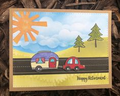 Happy trails to you! Happy Retirement, Love Thoughts, Happy Trails, Stork, Homemade Cards, Diy Cards, Handmade Cards, Card Making Inspiration, Heron