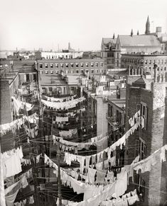 Manhattan c1900 yard of tenement building with laundry hung out to dry