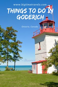 """Goderich is located on Ontario's West Coast in Huron County. Goderich is known for its breathtaking shoreline and historic downtown area. Given the charm and character of Goderich, Queen Elizabeth has coined Goderich """"the prettiest town in Canada"""". Travel Usa, Travel Tips, Travel Europe, Travel Ideas, Travel Destinations, Quebec, Vancouver, Columbia, Huron County"""