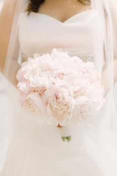 Tender bridal bouquet from white peonies We will create perfect bridal bouquet for you: https://saholany.com/ #flowers #weddingbouquet #weddingflowers