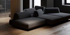 Shaping Slick Dark Interiors With Black & Grey Decor Black Dining Set, Decoration Gris, Dark Living Rooms, Traditional Fireplace, Modern Sectional, Dark Interiors, Inside Design, Layout, Gray Interior