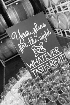Wedding favors at Van Ruiten winery summer wedding. Monogrammed stemless wine glasses