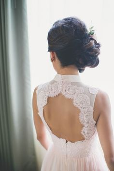 Lace high neck open back wedding dress: http://www.stylemepretty.com/2015/12/03/blogger-bride-extra-petite-vintage-inspired-wedding-at-the-boston-public-library/ | Photography: Katch Studios - http://www.katchstudios.com/