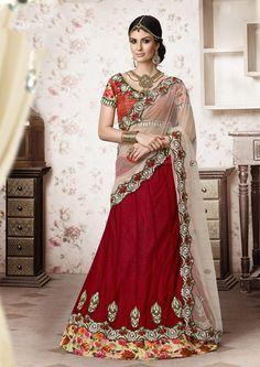 Red Net Designer Lehenga Saree 61206