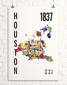 Houston, Texas Neighborhood Map Print