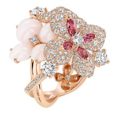 Chaumet Hortensia ring in pink gold, set with angel-skin and pink opal, pink tourmalines, a pink sapphire and diamonds
