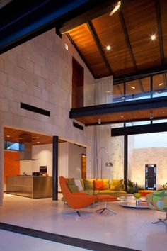 8 Bonaire House by Silberstein Architecture Contemporary Interior Design, Modern Interior, Interior Architecture, Interior And Exterior, Orange Interior, Decoration Inspiration, Luxury Living, My Dream Home, Great Rooms