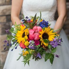 Colorful Bouquet with sunflowers and Peonies. By: bloomsberry floral