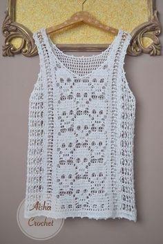 Fabulous Crochet a Little Black Crochet Dress Ideas. Georgeous Crochet a Little Black Crochet Dress Ideas. Pull Crochet, Gilet Crochet, Stitch Crochet, Crochet Tank, Crochet Blouse, Hand Crochet, Crochet Stitches, Knit Crochet, Crochet Style