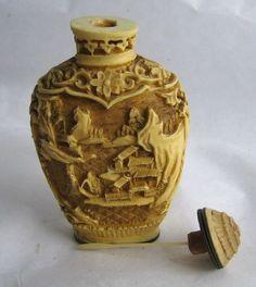 $89.95 VTG Bone White Snuff Bottle Amulet Pagoda Chinese Houses Cinnebar Perfume Stash