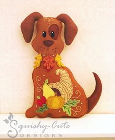 Dog Stuffed Animal Pattern - Felt Plushie Sewing Pattern & Tutorial - Harvest the Thanksgiving Dog - Thanksgiving Embroidery Pattern PDF