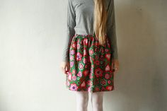 """""""Knee high colorful hearted floral corduroy skirt DGStyle on Etsy"""""""