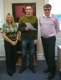 """ITEC North East Apprentice Tim Hutton being presented with his Apprenticeship Achievement Award by ITEC tutor Tony Grainger, nominated by his tutor Dawn Skelton for commitment in completing Level 2 ITP qualification, after original employer ceased trading. Tim volunteered to a former colleague's business and a local charity to complete his Apprenticeship. Originally Tim's Asperger's affected his confidence and social skills but now he's """"buzzing"""" with plans for the future and a new career…"""