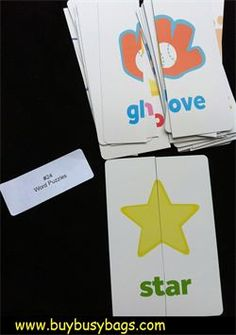 Really like the idea of cutting flash cards in half to match. The site makes you buy the items but this idea should be easy enough to make for yourself.