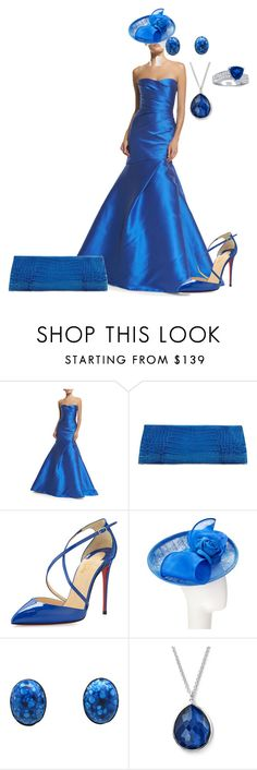 """""""Mermaid dress in cobalt blue"""" by andrea-barbara-raemy on Polyvore featuring Mode, Monique Lhuillier, Anne Sisteron, Christian Louboutin, Whiteley und Ippolita"""