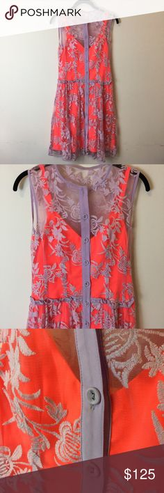 Nanette Lepore Orange Lavender Embroidered Dress Gorgeous party dress in a neon orange and has a Lavender Overlay with Embroidery and a Button Down Front. Size 0. Worn once for an occasion. A must have . Super unique. Nanette Lepore Dresses