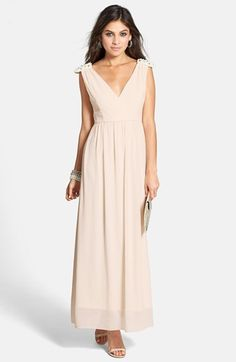 a. drea 'Daisy' Beaded Shoulder V-Neck Gown (Juniors) available at #Nordstrom