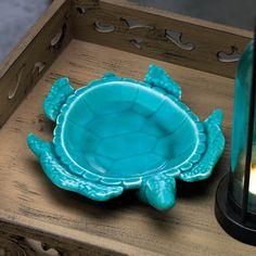 Sea Blue Turtle Decorative Porcelain Dish