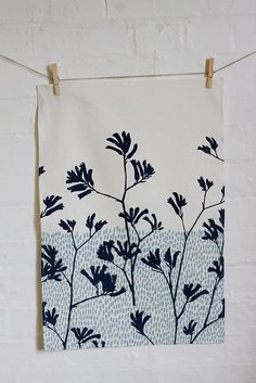 teatowel - kangaroo paw in charcoal by ink & spindle