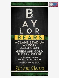 Baylor University Bears retro vintage print wall art