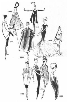 Cristobal Balenciaga's Sketches 1941-1957