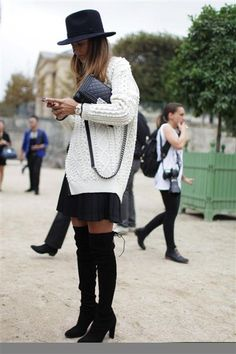 oversized sweater and over the knee boots> everything but the boots