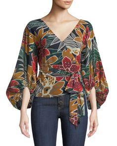 Riston Floral-Print Wrap Blouse by Club Monaco at Neiman Marcus Blouse Styles, Blouse Designs, Dress Designs, Mode Batik, Neiman Marcus, Hijab Fashion, Fashion Dresses, Fashion Blouses, Club Monaco
