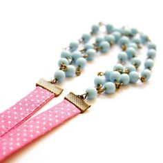Necklace with Ribbon in Rose and Light Blue - Colors of your life - Babyface