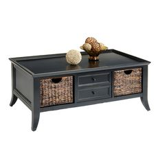 Found it at Wayfair - Handwoven Basket Coffee Table in Rubbed Black