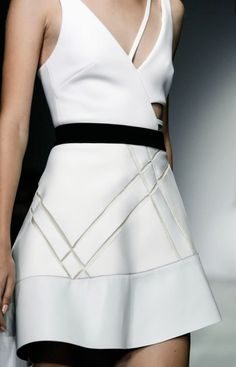 White dress, geometric fashion details // David Koma Spring 2015