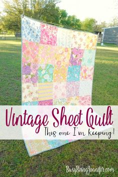 vintage sheet quilt - this one I'm definitely keeping! - BusyBeingJennifer.com