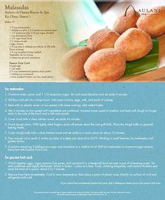 disney polynesian malasadas recipe with passion fruit filling Hawaiian Desserts, Köstliche Desserts, Delicious Desserts, Yummy Food, Donut Recipes, Copycat Recipes, Cooking Recipes, Strudel, Croissants