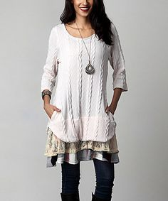Look what I found on #zulily! Winter White Cable Knit Mixed Media Layered Tunic #zulilyfinds