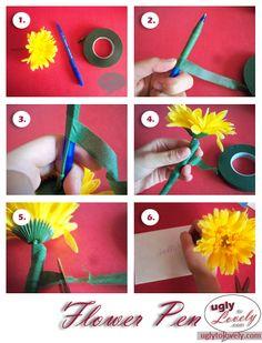DIY flower pen #diy #flowerpen #flower #pen #gift #office #uglytolovely #craft Flower Crafts, Diy Flowers, Flower Pens, Teacher Appreciation Gifts, Teacher Gifts, Love Craft, Book Binding, Special Gifts, Craft Gifts