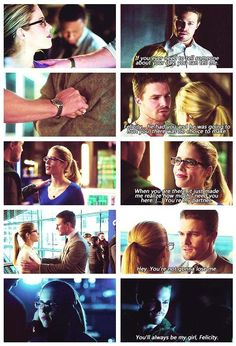 Honestly, season 2 and 3 of Arrow is probably my favorite with Oliver and Felicity. I loved seeing the development of their friendship and partnership. And then of course their love for each other. :p