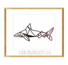 Geometric Shark ombre vinyl decal by Todaysgracestudio on Etsy