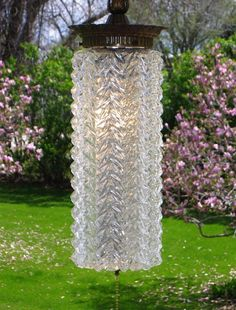 Vintage Clear Glass Embossed Cylinder Hanging Swag Lamp w/ Pull Chain Light