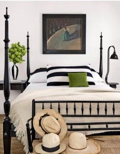 Black and white, with pops of bright green