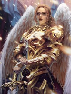 Reality is just an opinion aasimar or angel paladin / fighter / knight in golden armour RPG character inspiration for DnD / PAthfinder Fantasy Kunst, Dark Fantasy Art, Fantasy Women, Fantasy Girl, Fantasy Character Design, Character Art, Character Inspiration, Illustration Fantasy, Archangel Jophiel