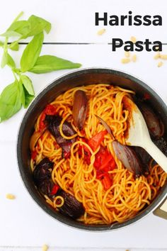 This tasty harissa pasta with roasted vegetables is a delicious choice for a simple midweek meal. It's also a great choice to make with leftover roasted vegetables. Harissa is a great way to make a simple spicy pasta sauce as well as being vegan and dair Roasted Vegetable Recipes, Vegetarian Pasta Recipes, Yummy Pasta Recipes, Roasted Vegetables, Healthy Recipes, Noodle Recipes, Easy Recipes, Vegetarian Dinners, Spicy Recipes