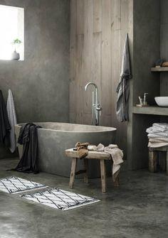 Inspiratie! Industriële maar sfeervolle badkamer van beton