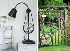upcycling ideen mit fahrradteilen gartentor fahrrad zahnrad pedal kette lampe