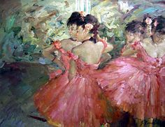 one of Edgar Degas' many exquisite ballerina paintings. This one is Dancers in Pink.