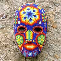 Star Man Mexican Estrella Huichol Indian Hand Beaded Mask Art Novica New Unusual Flowers, Carnival Masks, Masks Art, Native American Beading, Mexican Folk Art, Diy Mask, Animal Jewelry, Bead Art, Artisan