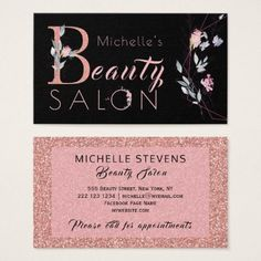 Floral typography glitter pink black glam salon business card - glam gifts unique diy special glamour