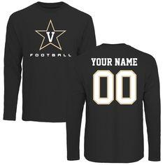 Vanderbilt Commodores Personalized Football Long Sleeve T-Shirt - Black - $42.99