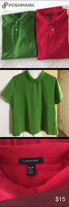 SWEET DEAL  Lands End pique cotton polo shirts TWO! EUC polo shirts from Lands End. Smoke and pet free home.  No tears, rips or stains. Lands' End Tops