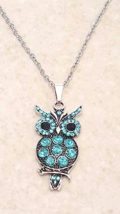 Teal Rhinestone Owl Pendant Necklace, Owl Pendant Necklace, Owl Necklace